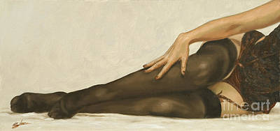 Sepia Chalk Painting - Lingerie II by John Silver