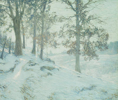Winter Light Painting - Lingering Oak Leaves by Walter Launt Palmer