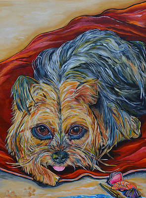 Dogs On Beach Painting - Lingo The Yorkie by Patti Schermerhorn