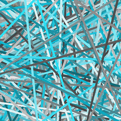 Line Art Painting - Link - Turquoise And Gray Abstract by Lourry Legarde