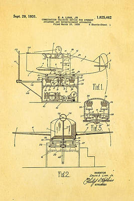 Link Flight Simulator Patent Art 2 1931 Art Print