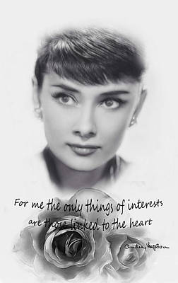 Audrey Hepburn Drawing - Linked To The Heart Bw by Steve K