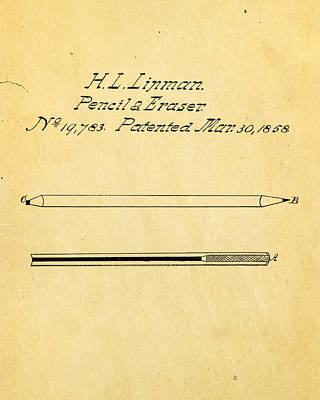 Linman Pencil And Eraser Patent Art 1858 Art Print by Ian Monk