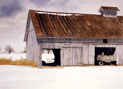 Art Print featuring the painting Lin's Barn by Tom Wooldridge