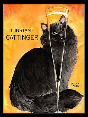 Glass Of Wine Painting - L'instant Cattinger Black Cat Champagne by Amelia Hunter