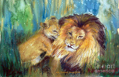 Lion And Cub -2 Art Print
