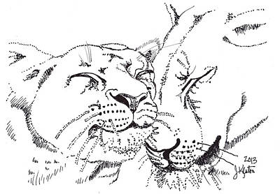 Animals Drawings - Lion and Cub by John Keaton