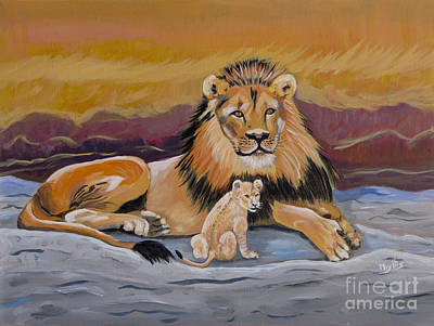Painting - Lion And Cub by Phyllis Kaltenbach
