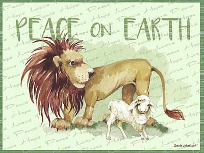 Lion And Lamb Cartoon Art Print