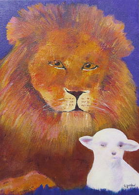 Peaceable Painting - Lion And Lamb by Jenny Frampton