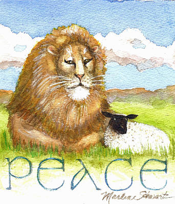 Painting - Lion And Lamb - Peace  by Marlene Schwartz Massey
