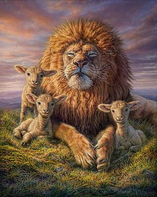 Relaxing Mixed Media - Lion And Lambs by Phil Jaeger