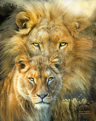Mixed Media - Lion And Lioness- African Royalty by Carol Cavalaris