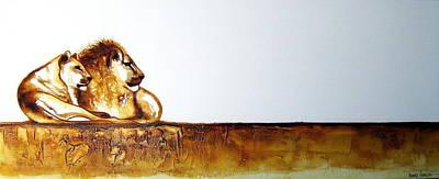 Lion And Lioness - Original Artwork Art Print