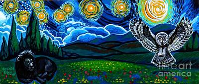 Animals Paintings - Lion And Owl On A Starry Night by Genevieve Esson