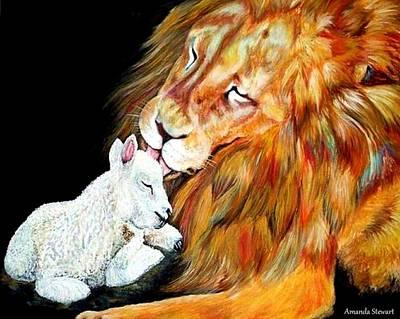 Lion And The Lamb Print by Amanda Hukill