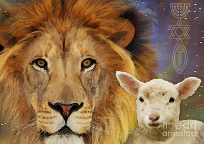 Lion And The Lamb Painting - Lion And The Lamb by Todd L Thomas