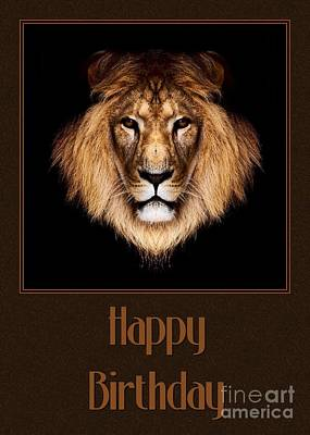 Digital Art - Lion Birthday by JH Designs