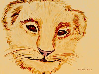 Drawing - Lion Cub by Elizabeth S Zulauf