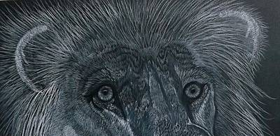 Drawing - Lion Eyes  African King Detail by Gerald Strine