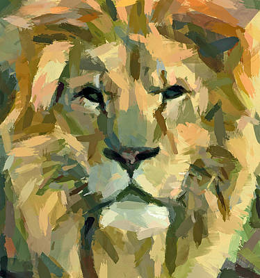 Digital Art - Lion Face Expression by Yury Malkov
