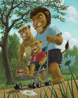 Lion Illustrations Painting - Lion Family In Park by Martin Davey