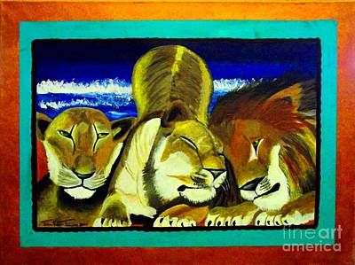 Painting - Lion Family by Jayne Kerr