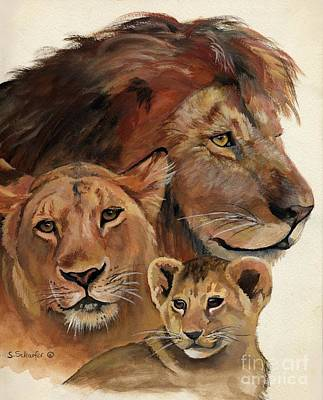 Lion Family Portrait Art Print by Suzanne Schaefer