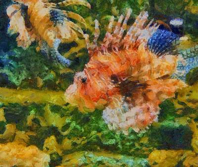 Under The Sea Mixed Media - Lion Fish Paint by Dan Sproul