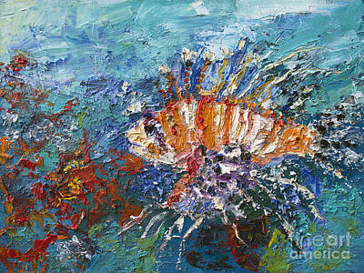 Painting - Lion Fish Red Coral Oil Painting by Ginette Callaway