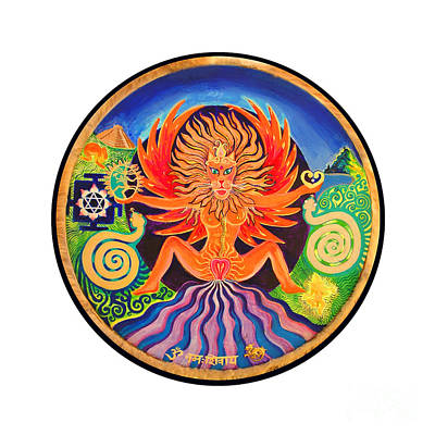Tantra Painting - Lion Goddess by Mukee Okan