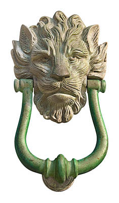 Photograph - Lion Head Antique Door Knocker On White by Jane McIlroy
