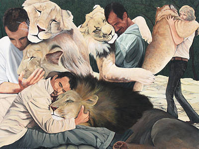 Painting - Lion Hugs by Cory Calantropio