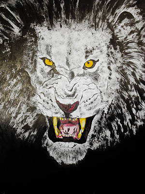 King Of Darkness Drawing - Lion In The Darkness by Zech Browning