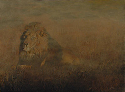 Painting - Lion In The Mist by Rick Fitzsimons