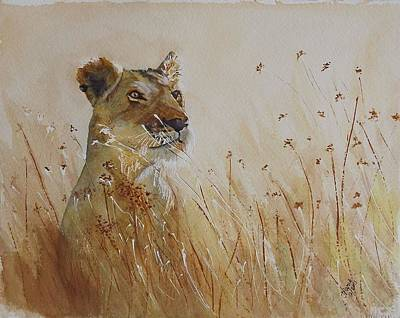 Lion In The Weeds Art Print