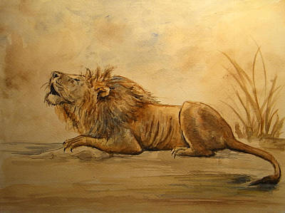 Watercolor Pet Portraits Painting - Lion by Juan  Bosco