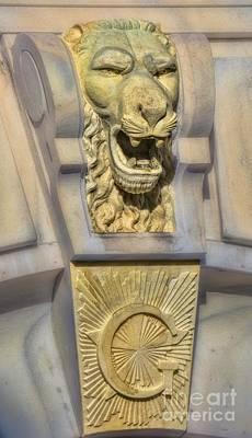 Design For Architects Photograph - Lion Keystone Scottish Rite Temple Savannah by Henry Kowalski