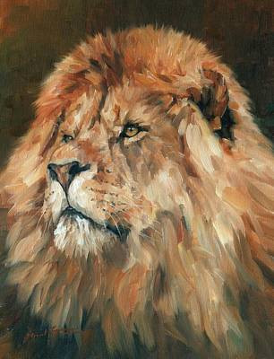King Cat Painting - Lion King by David Stribbling