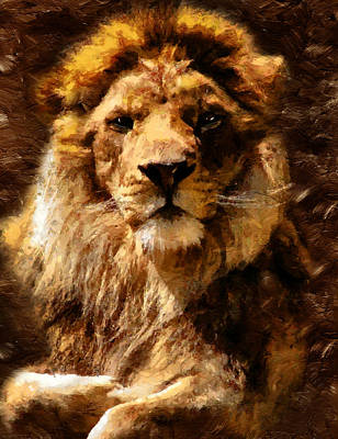 Mixed Media - Lion King Of Beasts by Georgiana Romanovna