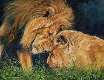 Lioness Painting - Lion  Love by David Stribbling