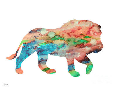 Lion Art Painting - Lion by Watercolor Girl