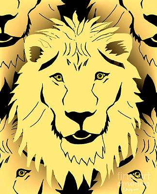 Digital Art - Lion Mask by Barbara Moignard