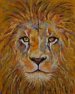 King Cat Painting - Lion by Michael Creese