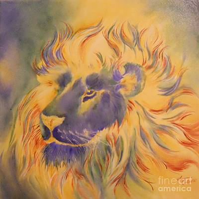 Lion Of Another Color Art Print by Summer Celeste