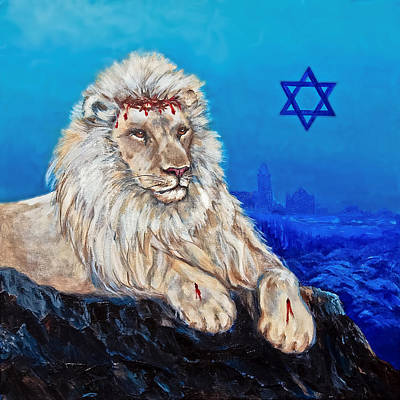 Messianic Painting - Lion Of Judah Before Jeruselum by Bob and Nadine Johnston