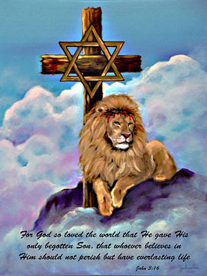Painting - Lion Of Judah Foot Of The Cross by Bob and Nadine Johnston