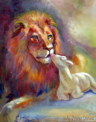 Lion And The Lamb Painting - Lion Of Judah Lamb Of God by Judy Downs