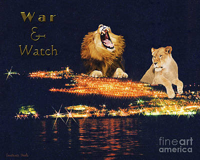 Tiberias Painting - Lion Of Judah War And Watch by Constance Woods