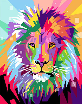 Pop Art Royalty-Free and Rights-Managed Images - Lion Pop Art by Ahmad Nusyirwan